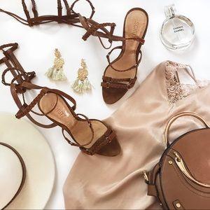 SCHUTZ | Brown Lace-up Suede Gladiator Heels